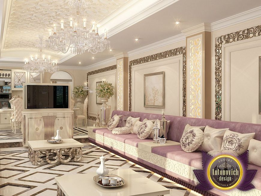 Living room in the eastern style of Luxury Antonovich Design, eastern style of Katrina Antonovich