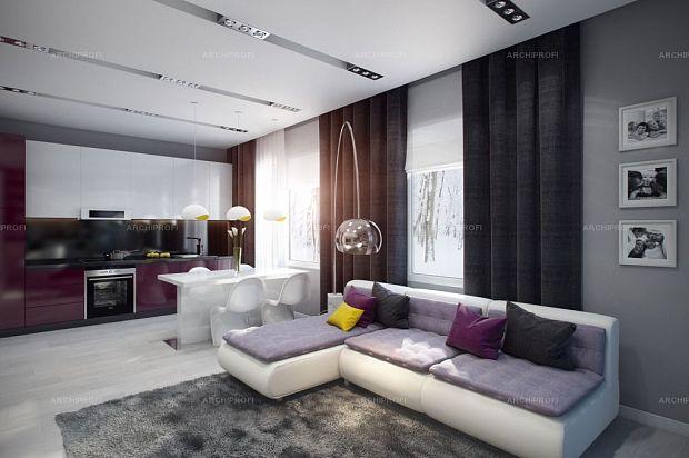 Дизайн студии 18 квм кухня гостиная с двумя окном
