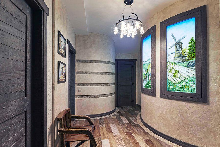 дизайнеры Андрей и Екатерина Андреевы Витражи холла цокольного этажа с деревенскими мотивами выполнены в современной технике фьюзинг.